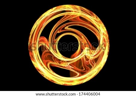 Fire wheel. Abstract fractal figure - stock photo