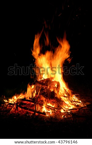 fire with charcoal - stock photo