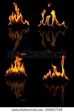 fire with reflection on black background