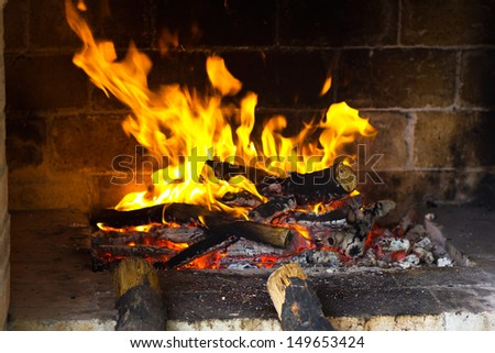 Fire wood burns in a fireplace. Burning wood in the fireplace and the flames - stock photo