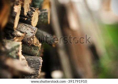Fire wood logs. Home living, energy for winter.Place for text, selective focus. - stock photo