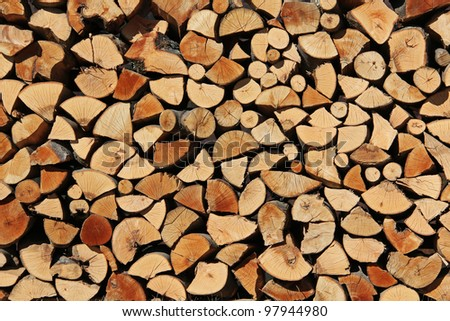 Fire wood stock for winter - stock photo