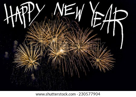 fire work for happy new year on night background - stock photo