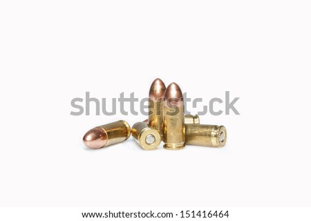 firearm ammunition with gunpowder and caps - stock photo