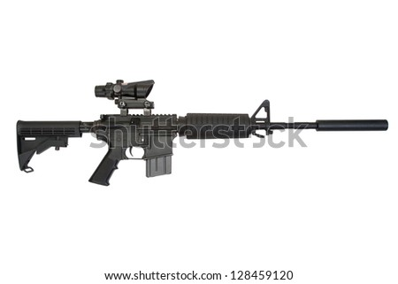 firearms with silencer isolated on a white background - stock photo
