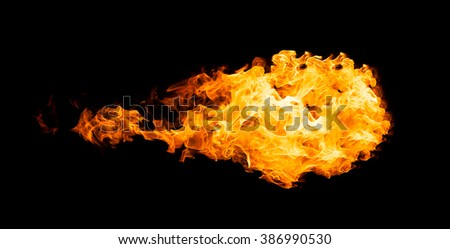 Fireball isolated on black background. Close up - stock photo