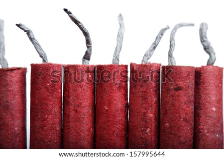 firecracker isolated on white background. - stock photo