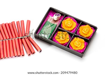 Firecrackers and Diwali lamp gift set on white background, Diwali festival India Asia South East Asia - stock photo