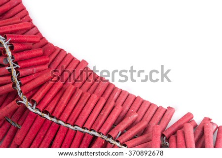 Firecrackers for Chinese new year on white background - stock photo