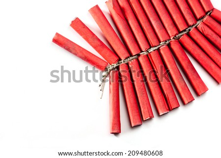 Firecrackers String isolated on white background - stock photo