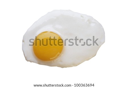 Fired eggs isolated on white