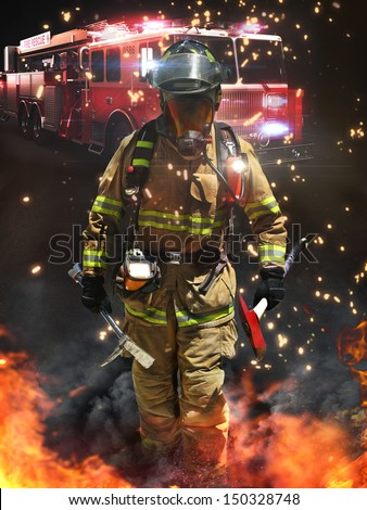 Firefighter arriving on a hazardous scene ready for battle with full array of tactical lighting, tools and thermal imaging camera. - stock photo