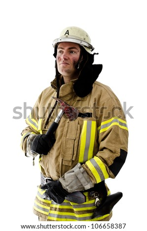 Firefighter being proud of his previous jobs