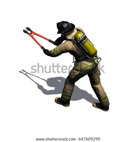 Firefighter cuts with pincer - isolated on white background - 3D illustration