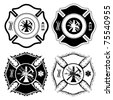 Firefighter Design First In is an illustration of four one color versions of the firefighter cross symbol - stock vector