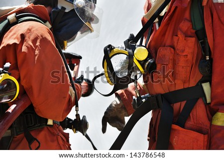 Firefighter during training - stock photo