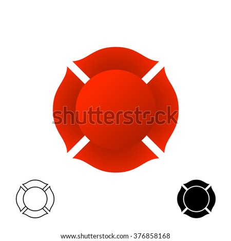 Firefighter emblem background silhouette. Red color and black monochrome versions of a badge. - stock photo