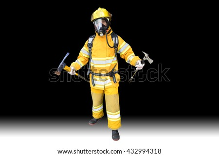 Firefighter holding axe  and Hammer air pack fully protective suit walking on isolated black background - stock photo