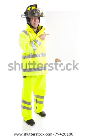 Firefighter holding blank white sign.  Ready for your text.  Full body isolated on white.