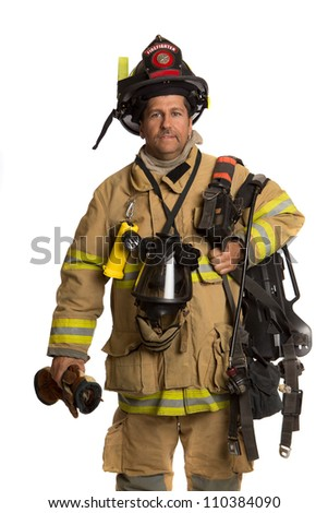 Firefighter holding mask and airpack fully protective suit on isolated white background - stock photo