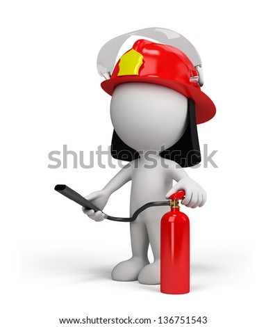 Firefighter in the helmet with red fire extinguisher. 3d image. White background.