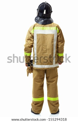 Firefighter in uniform from back on a white background - stock photo