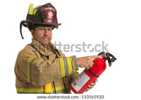 Firefighter in uniform holding fire extinguisher inspecting pressure meter on isolated white background