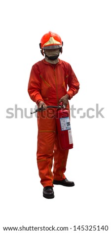 Firefighter in uniform holding fire extinguisher on isolated white background - stock photo