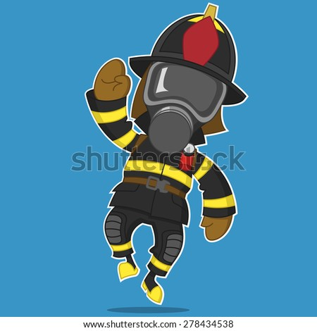 firefighter rejoices. Raster illustration - stock photo