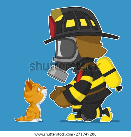 Firefighter rescues kitten. raster illustration.  - stock photo