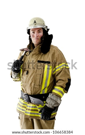 Firefighter shouldering his axe