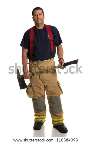 Firefighter Standing Holding Ax Full Body Length Portrait Isolate on Withe Background