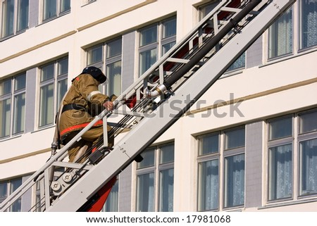 Firefighter walks upstairs