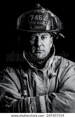 Firefighter with Blue Eyes - stock photo