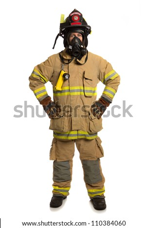 Firefighter with mask and fully protective suit on isolated white background