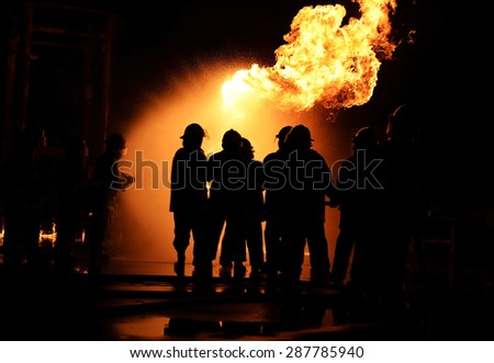 Firefighters as fire drill industry. at night