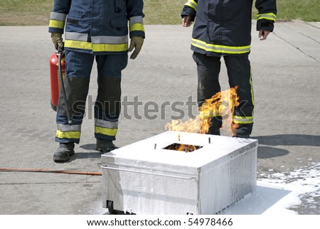 Firefighters during training of fire safety