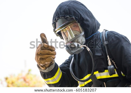 firefighters , Fireman Like this human hand with thumb up