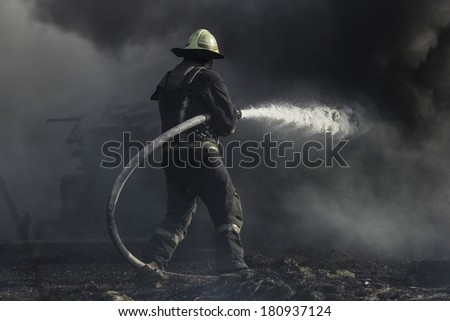 Firefighters in action