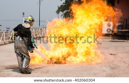 Firefighters training - stock photo