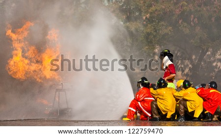 Firefighters training exercise