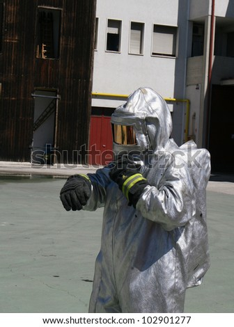 firefighters with special suit against radiation and radioactivity