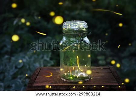 Fireflies in a jar.  Long exposure - stock photo