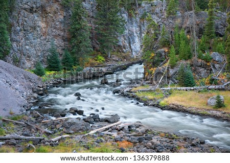 Firehole Canyon and river in Yellowstone National Park, Wyoming - stock photo