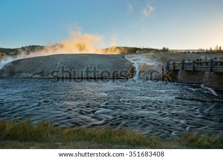 Firehole River at Midway Geyser Basin in Yellowstone National Park, Wyoming. - stock photo