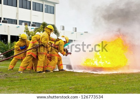 Fireman are working - stock photo
