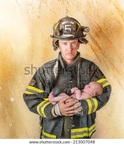 Fireman holding baby on a golden textured background with lighting effects - stock photo