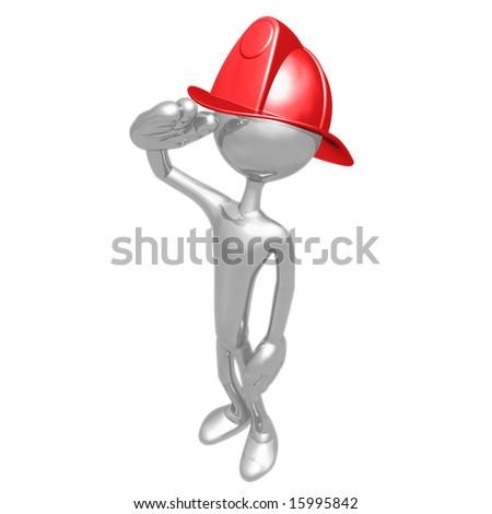 Fireman Salute - stock photo