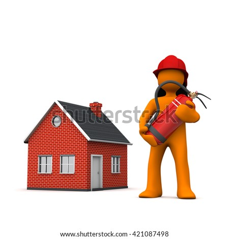 Fireman with extinguisher and house on the white. 3d illustration.  - stock photo