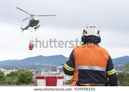 Firemans' helicopter - stock photo